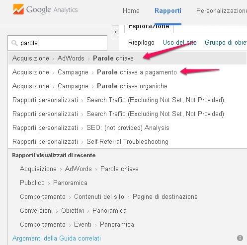 Come cercare parole chiave con google analytics