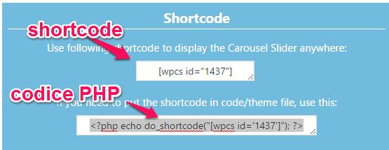 shortcode da inserire per creare una slide di prodotti Woccommerce