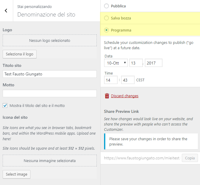 """1. Bozza e Programmazione delle modifiche generali in """"Aspetto"""" > """"Personalizza"""""""